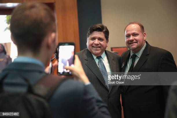 Illinois gubernatorial candidate JB Pritzker greets guests at the Idas Legacy Fundraiser Luncheon on April 12 2018 in Chicago Illinois The luncheon...