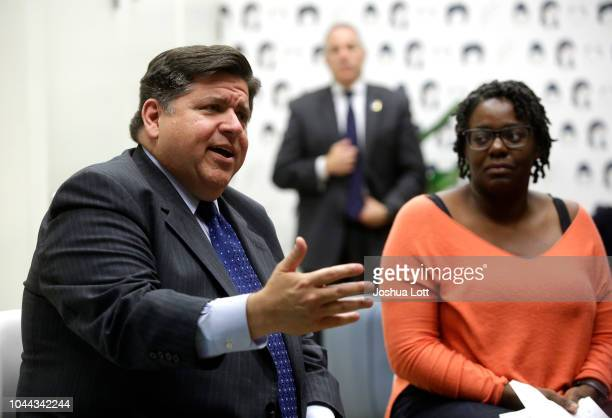 Illinois gubernatorial candidate JB Pritzker speaks during a round table discussion with high school students at a creative workspace for women on...