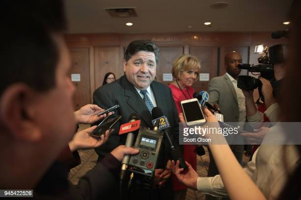 Illinois gubernatorial candidate JB Pritzker speaks to reporters at the Idas Legacy Fundraiser Luncheon on April 12 2018 in Chicago Illinois The...