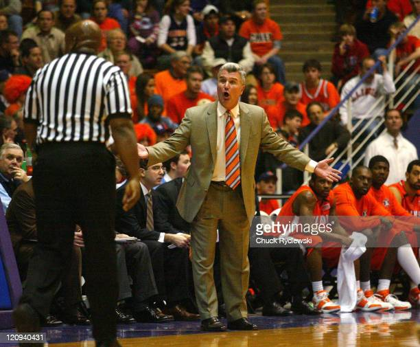 Illinois Head Coach Bruce Weber gets the ear of a referee during their game against the Northwestern Wildcats February 7 2007 at WelshRyan Arena in...
