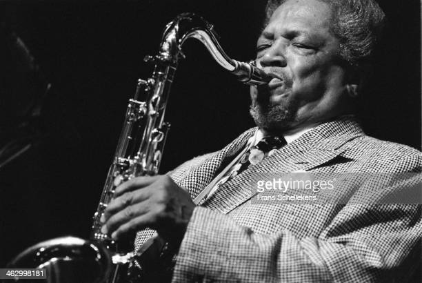 Illinois Jacquet, tenor sax, performs at the North Sea Jazz Festival in the Hague, the Netherlands on 12 July 1990.