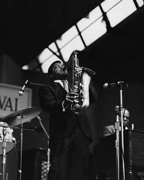 Illinois Jacquet , U.S. jazz saxophonist, playing the...