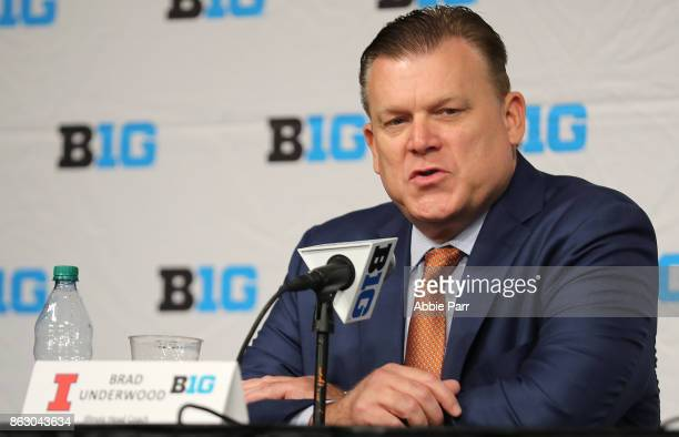 Illinois Men's Basketball Head Coach Brad Underwood speaks at the 2017 Big Ten Basketball Media Day at Madison Square Garden on October 19 2017 in...