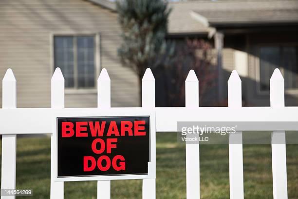 USA, Illinois, Metamora, Beware of dog sign on fence