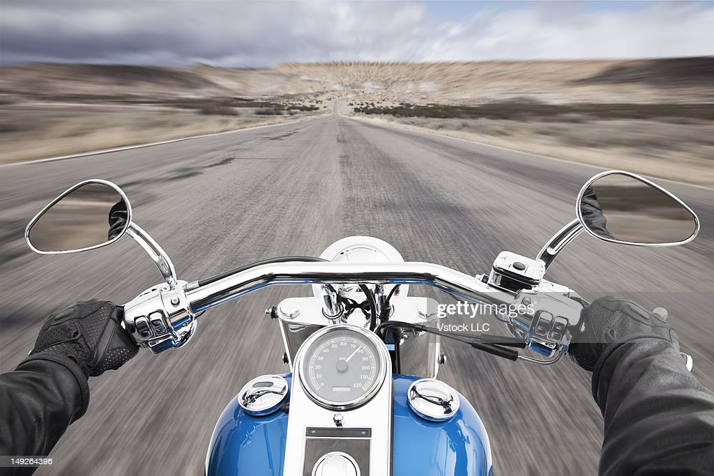 USA, Illinois, Metamora, Biker's hands on handlebar during driving : Stock Photo