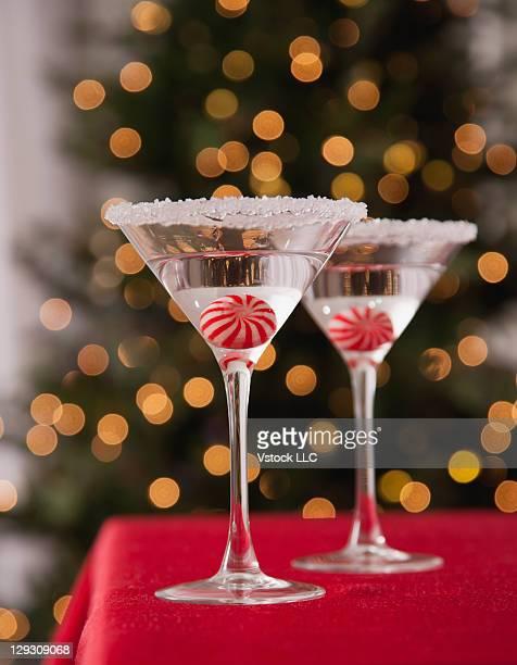 USA, Illinois, Metamora, Christmas cocktail with christmas tree