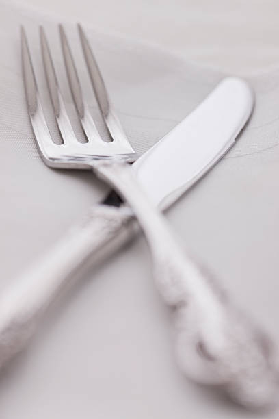 USA, Illinois, Metamora, Close-up of silver fork and knife