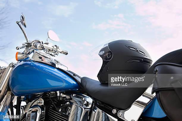 USA, Illinois, Metamora, Crash helmet on motorcycle seat