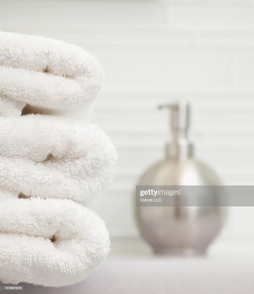 USA, Illinois, Metamora, Focus On Stack Of Towels In Bathroom : Stock Photo