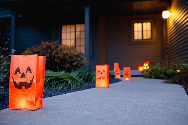 USA, Illinois, Metamora, Halloween bags on porch