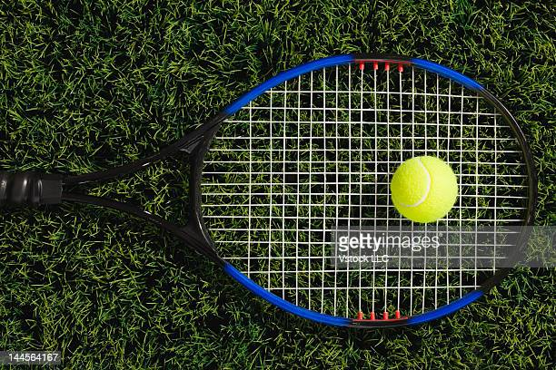 USA, Illinois, Metamora, Tennis racket and ball on grass