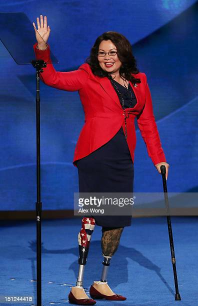 Illinois nominee for Congress Tammy Duckworth leaves the stage after speaking during day one of the Democratic National Convention at Time Warner...