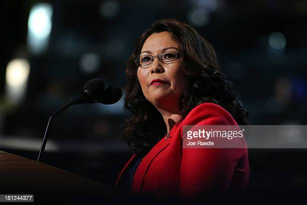 Illinois nominee for Congress Tammy Duckworth speaks during day one of the Democratic National Convention at Time Warner Cable Arena on September 4...