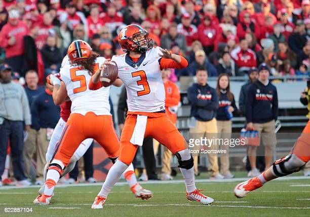 Illinois quarterback Jeff George Jr drops back to pass during game action George Jr threw four interceptions during the game Wisconsin beat Illinois...