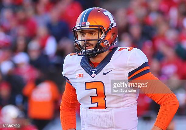 Illinois quarterback Jeff George Jr looks to the sidelines during game action George Jr threw four interceptions during the game Wisconsin beat...