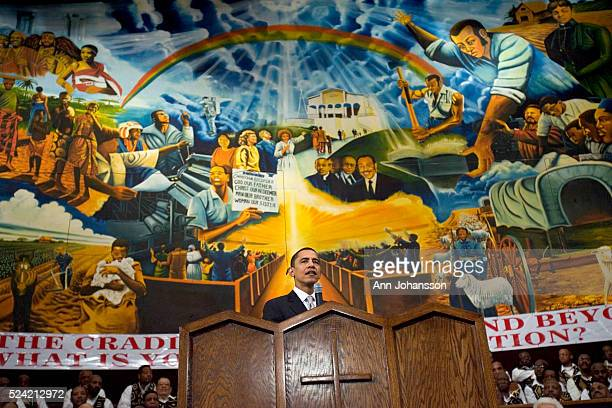Illinois Senator Barack Obama a Democratic candidate for the office of President of the United States speaks during a service commemorating the Los...