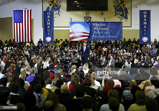 Illinois Senator Barack Obama addresses a large crowd of supporters during a campaign stop at the Central Middle School Gymnasium in Waterloo Iowa on...