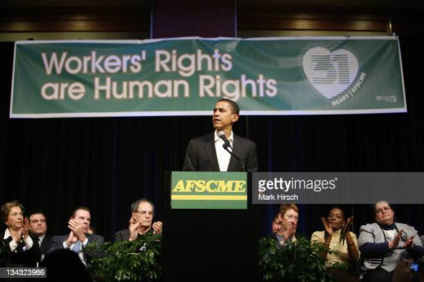 Illinois Senator Barack Obama speaks during a rally that brought together labor political religious and community leaders in support of the Employee...