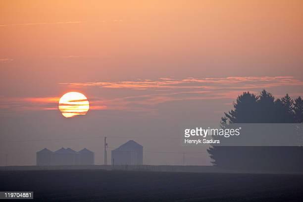 usa, illinois, springfield, farm at sunrise - ペオリア ストックフォトと画像