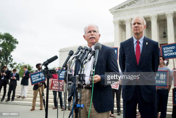 Illinois state employee Mark Janus left and Gov Bruce Rauner RIll speak to the press outside of the US Supreme Court after the decision in the Janus...