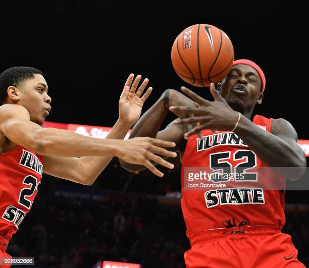 Illinois State guard Milik Yarbrough grabs a rebound in the first half during a Missouri Valley Conference Basketball Tournament game between the...