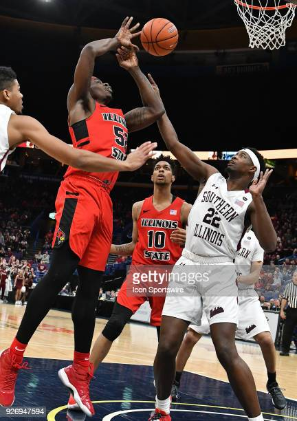 Illinois State guard Milik Yarbrough looses control of the ball during a Missouri Valley Conference Basketball Tournament game between the Southern...