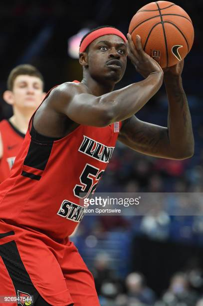 Illinois State guard Milik Yarbrough puts up a free throw during a Missouri Valley Conference Basketball Tournament game between the Southern...