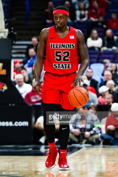 Illinois State Redbirds forward Milik Yarbrough brings the ball down court during the first half of a Missouri Valley Conference Tournament...