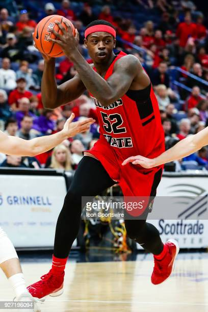 Illinois State Redbirds forward Milik Yarbrough drives the lane during the first half of a Missouri Valley Conference Tournament Championship...