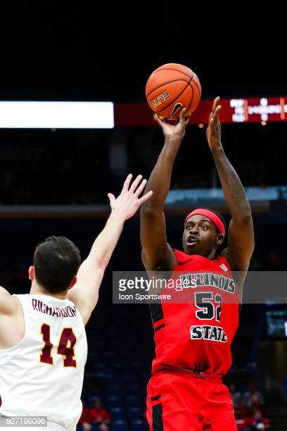 Illinois State Redbirds forward Milik Yarbrough goes up for a shot during the first half of a Missouri Valley Conference Tournament Championship...