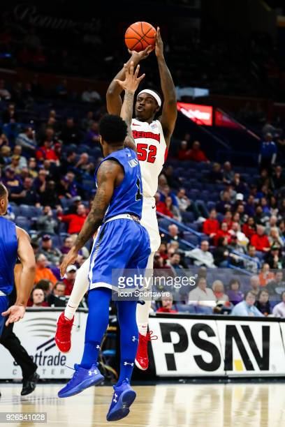 Illinois State Redbirds forward Milik Yarbrough takes a shot during the first half of a Missouri Valley Conference Tournament basketball game between...