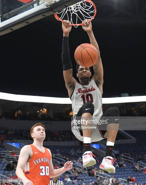 Illinois State Redbirds forward Phil Fayne dunks the ball in the first half during a Missouri Valley Conference Basketball Tournament game between...