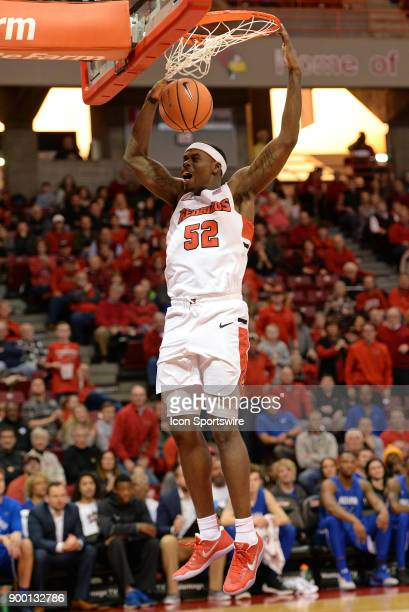 Illinois State University Redbirds forward Milik Yarbrough dunks the ball during the Missouri Valley Conference college basketball game between the...