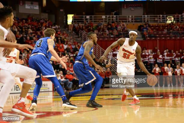 Illinois State University Redbirds forward Milik Yarbrough looks to pass the ball during the Missouri Valley Conference college basketball game...