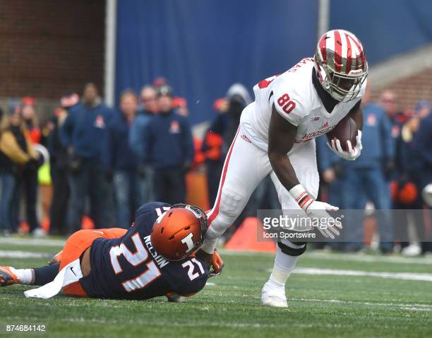 Illinois strong safety Patrick Nelson tackles Indiana Hoosiers tight end Ian Thomas during a Big Ten Conference football game between the Indiana...
