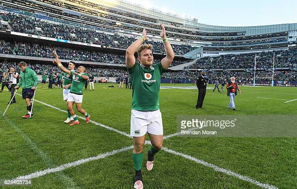 Illinois , United States - 5 November 2016; Finlay Bealham of Ireland celebrates victory after the International rugby match between Ireland and New...