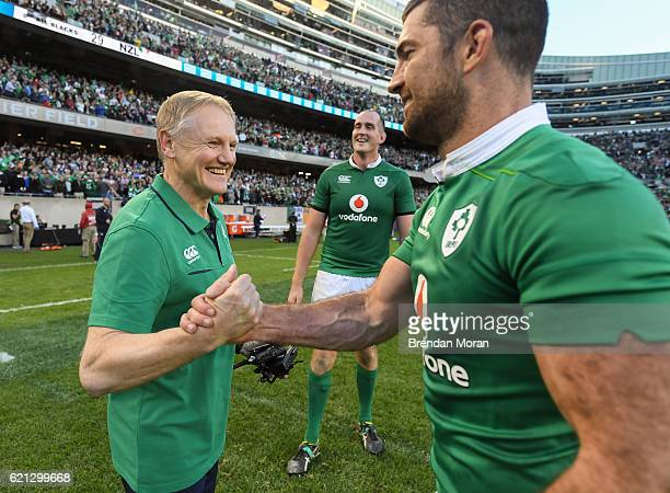 Illinois United States 5 November 2016 Ireland head coach Joe Schmidt left and Rob Kearney celebrate victory after the International rugby match...