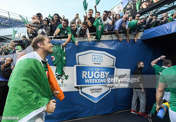 Illinois United States 5 November 2016 Jamie Heaslip of Ireland is cheered from the pitch by supporters after the International rugby match between...
