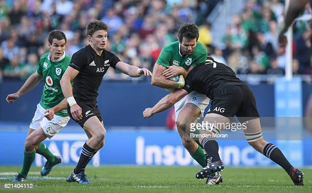 Illinois United States 5 November 2016 Jared Payne of Ireland is tackled by Sam Cane of New Zealand during the International rugby match between...