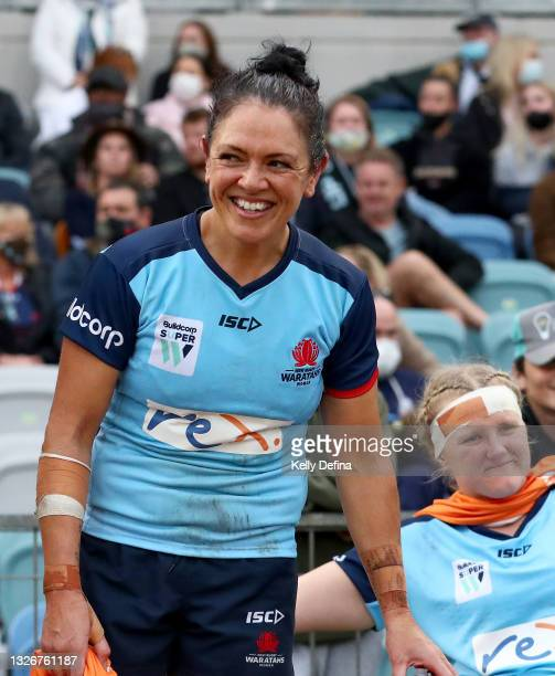 Illiseva Batibasaga of the Waratahs looks on during the Super W Final match between the NSW Waratahs and the Queensland Reds at Coffs Harbour...