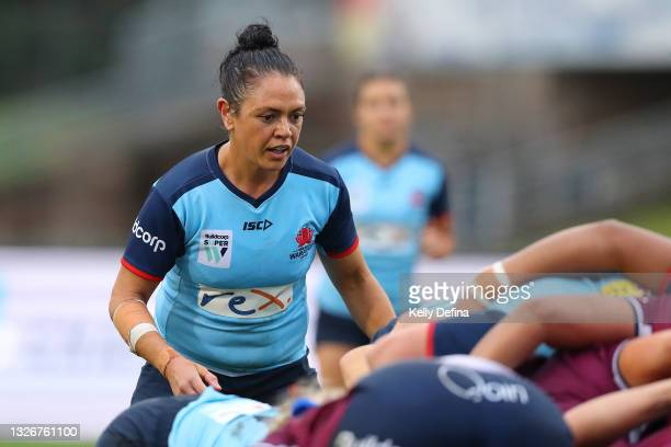 Illiseva Batibasaga of the Waratahs looks on in a scrum during the Super W Final match between the NSW Waratahs and the Queensland Reds at Coffs...