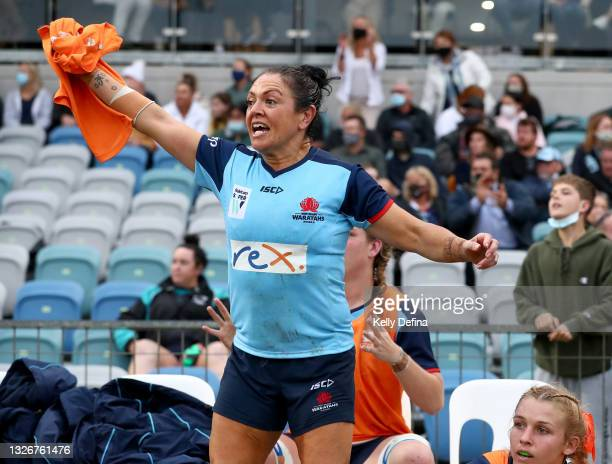 Illiseva Batibasaga of the Waratahs reacts during the Super W Final match between the NSW Waratahs and the Queensland Reds at Coffs Harbour...