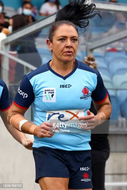 Illiseva Batibasaga of the Waratahs runs out during the Super W Final match between the NSW Waratahs and the Queensland Reds at Coffs Harbour...