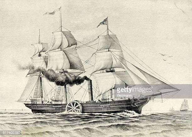 1819 Illstration shows the 'SAVANNAH' the first steamship to cross the Atlantic Ocean BPA