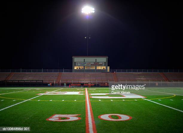 Illuminated American football field at night