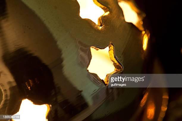 Illuminated Arabic style bronze metallic lantern