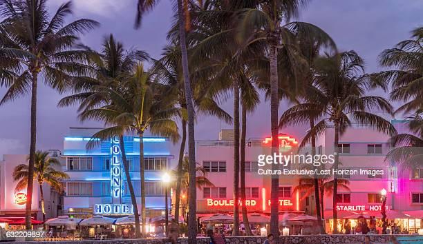 Illuminated art deco hotels in Ocean Drive, Miami Beach, Florida, USA