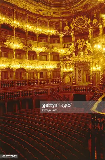 Illuminated auditorium of the Markgraefliches Opernhaus in Bayreuth, Germany