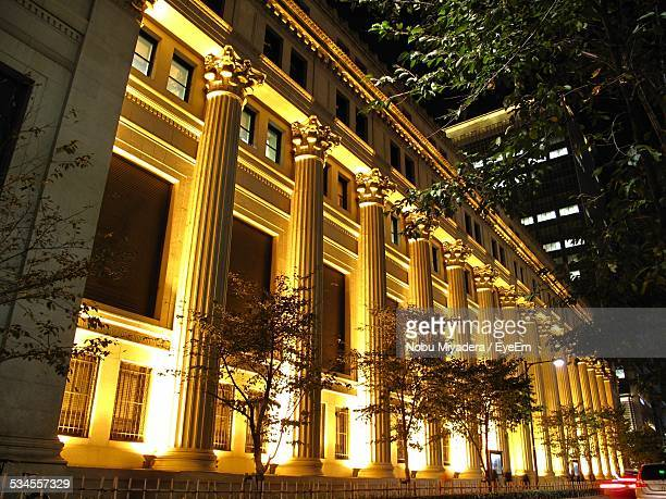 Illuminated Bank Buildings At Night
