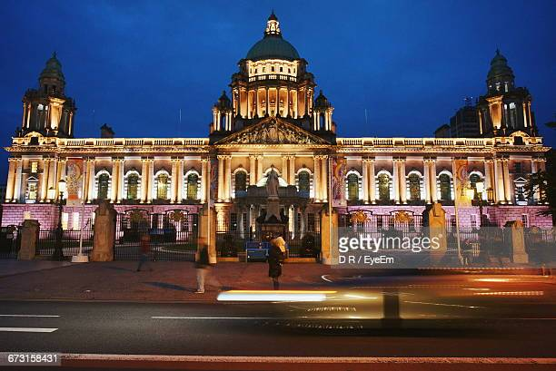 Illuminated Belfast City Hall Against Blue Sky At Night